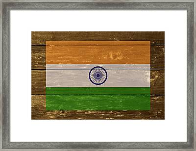 India National Flag On Wood Framed Print by Movie Poster Prints