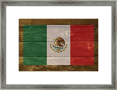 Mexico National Flag On Wood Framed Print