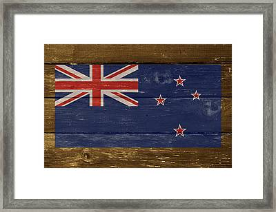 New Zealand National Flag On Wood Framed Print