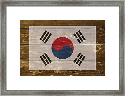 South Korea National Flag On Wood Framed Print by Movie Poster Prints
