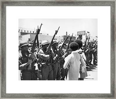 National Guard In Berkeley Framed Print by Underwood Archives Thornton