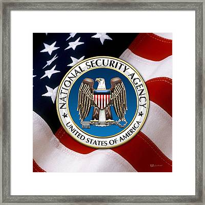National Security Agency - N S A Emblem Emblem Over American Flag Framed Print