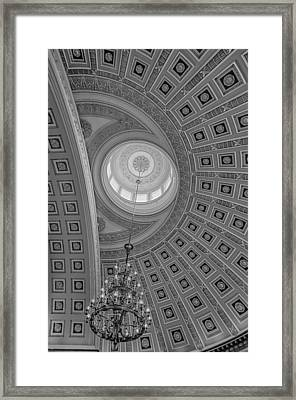National Statuary Rotunda Bw Framed Print by Susan Candelario