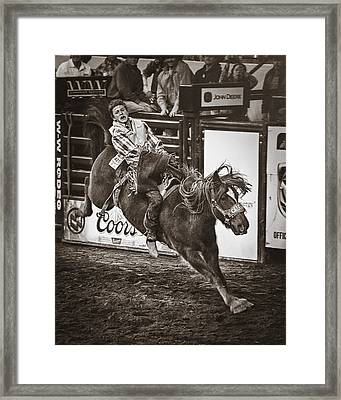 National Stock Show Bareback Riding Framed Print by Priscilla Burgers