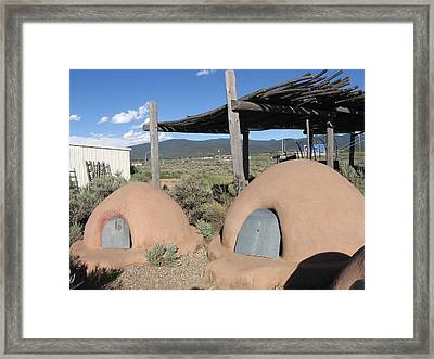 Framed Print featuring the photograph Native American Adobe Ovens In New Mexico by Dora Sofia Caputo Photographic Art and Design