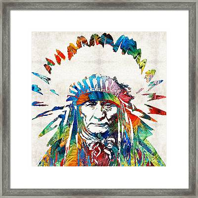 Native American Art - Chief - By Sharon Cummings Framed Print