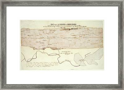 Native American Birch-bark Map Framed Print