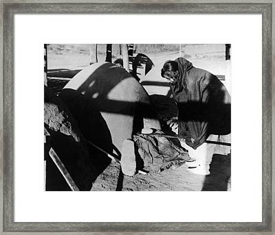 Native American Bread Maker Framed Print by Underwood Archives