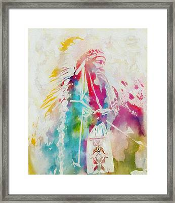 Native American Chief Watercolor Framed Print
