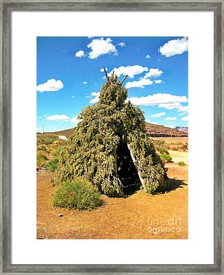 Native American Desert Cedar Lodge Framed Print by John Malone