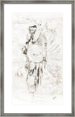 Framed Print featuring the digital art Native American by Erika Weber
