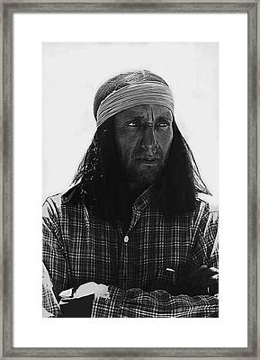 Native American Extra Dressed As Fierce Apache Warrior The High Chaparral Set Old Tucson Arizona 196 Framed Print