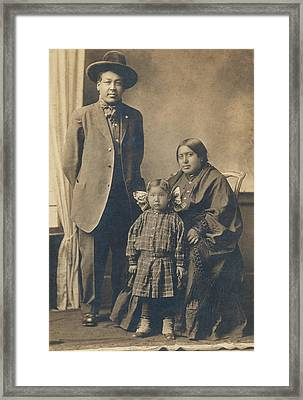 Framed Print featuring the photograph Native American Family by Paul Ashby Antique Image