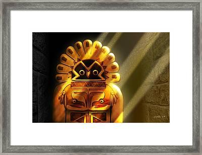 Native American Hawk Spirit Gold Idol Framed Print by John Wills