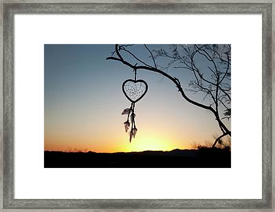 Native American Heart Shaped Framed Print by Angel Wynn