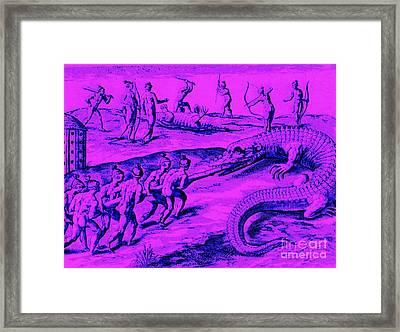 Framed Print featuring the drawing Native American Indian Alligator Hunt by Peter Gumaer Ogden