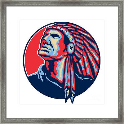 Native American Indian Chief Retro Framed Print by Aloysius Patrimonio