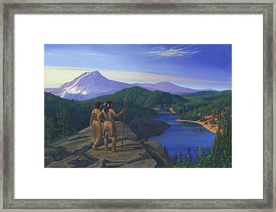 Native American Indian Maiden And Warrior Watching Bear Western Mountain Landscape Framed Print by Walt Curlee