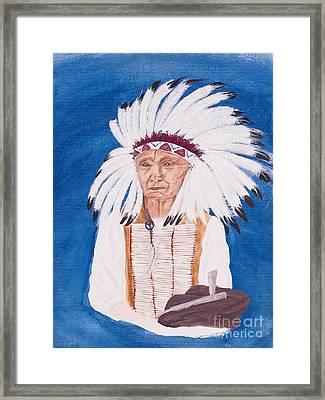 Native American Indian Painting By Carolyn Bennett Framed Print by Simon Bratt Photography LRPS