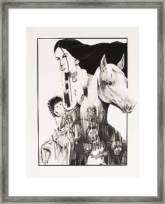 Native American Mother's Life Journey Framed Print by Joe Lisowski