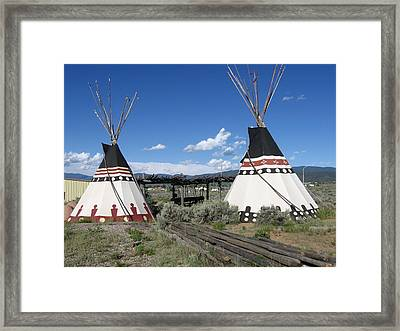 Framed Print featuring the photograph Native American Teepees by Dora Sofia Caputo Photographic Art and Design