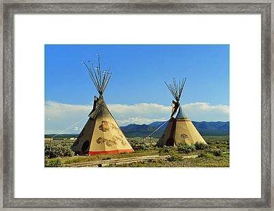 Native American Teepees  Framed Print by Dora Sofia Caputo Photographic Art and Design