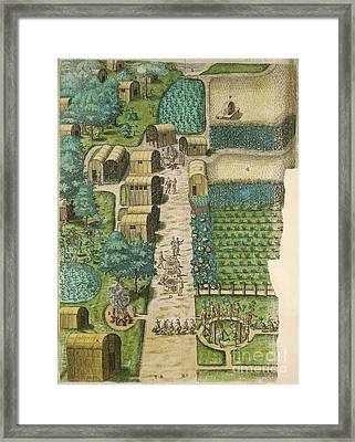 Native American Village, 16th Century Framed Print by British Library