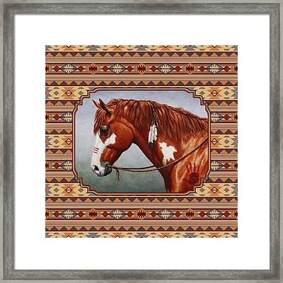 Native American War Horse Southwestern Pillow Framed Print by Crista Forest