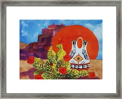 Native American Wedding Vase And Cactus Framed Print by Ellen Levinson