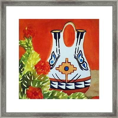 Native American Wedding Vase And Cactus-square Format Framed Print by Ellen Levinson