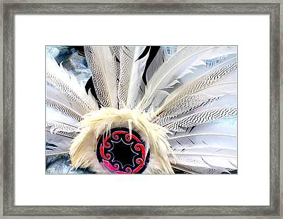 Native American White Feathers Headdress Framed Print by Dora Sofia Caputo Photographic Art and Design