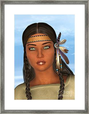 Native American Woman Framed Print by Design Windmill