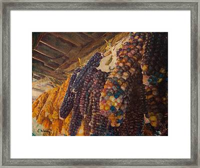 Framed Print featuring the mixed media Native Corn Offerings by Carla Woody