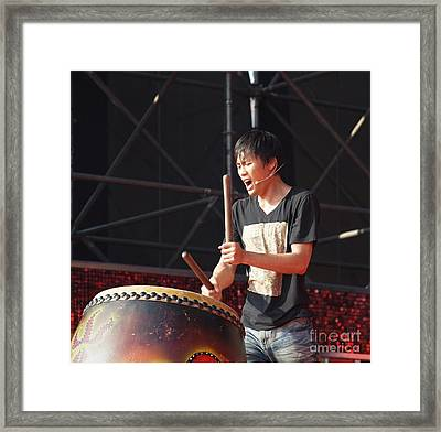 Native Drummer Performs In Taiwan Framed Print by Yali Shi