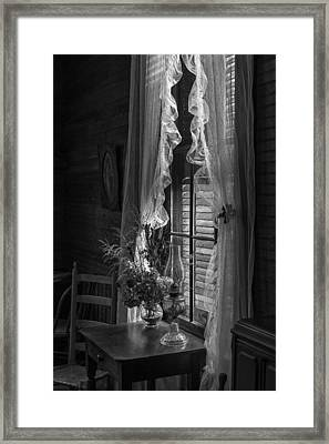Native Flowers In Vase And Ruffled Curtains Framed Print