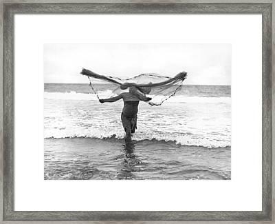 Native Hawaiian Fisherman Framed Print by Underwood Archives