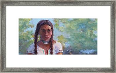 Native Maiden Framed Print by Gwen Carroll