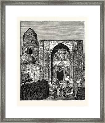 Native Police At The Gate Of The Mosque Of Shah Zindeh Framed Print by English School