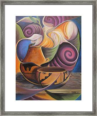 Native Pots And Flowers Framed Print
