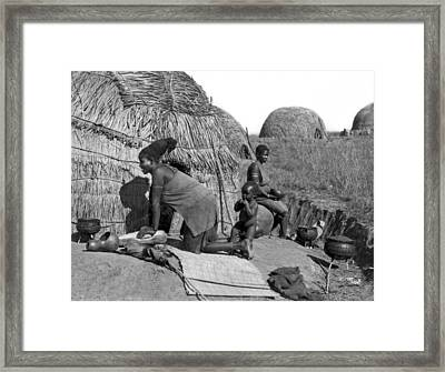 Native Woman Kneading Bread Framed Print