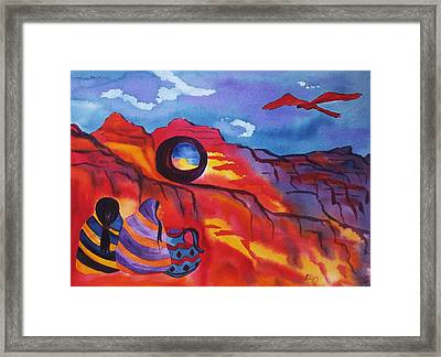 Native Women At Window Rock Framed Print
