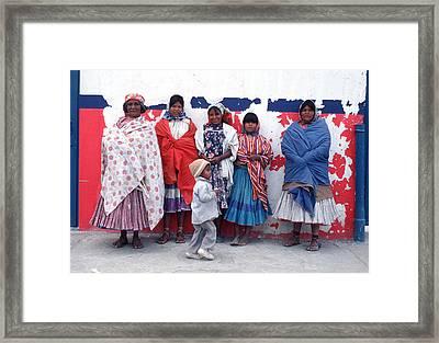 Native Women In Costume Framed Print by Mark Goebel