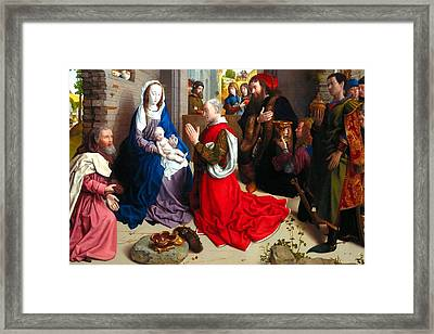 Nativity And Adoration Of The Magi Framed Print by Munir Alawi