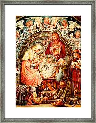 Nativity And Angels Framed Print