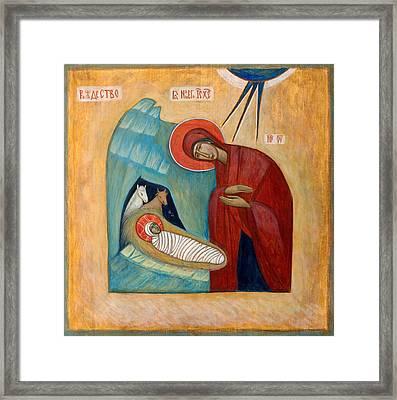 Nativity Framed Print by Basia Mindewicz