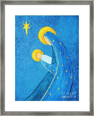 Nativity In Blue Framed Print