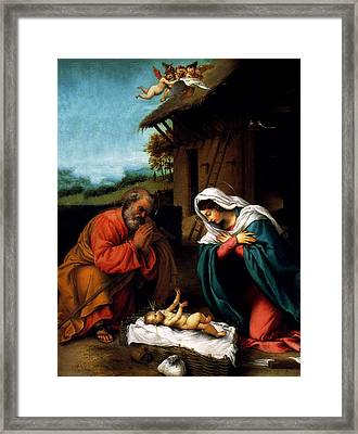 Framed Print featuring the digital art Nativity by Lorenzo Lotto