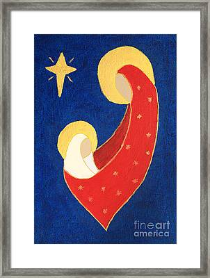 Nativity On Blue Framed Print
