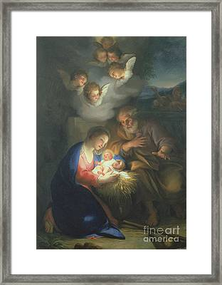 Nativity Scene Framed Print by Anton Raphael Mengs