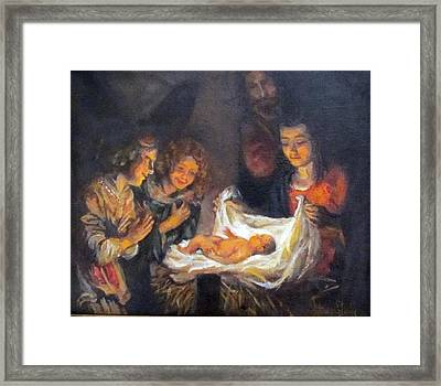 Framed Print featuring the painting Nativity Scene Study by Donna Tucker
